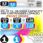Remanufactured Canon 2 Pack PG-37~CL-38 High Capacity Ink Cartridges