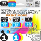 Remanufactured Canon 2 Pack PG-50BK~CL-51C High Capacity Inks