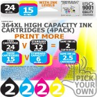 Compatible HP 8 Pack 364XL High Capacity Ink Cartridges