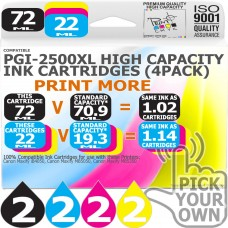 Compatible Canon 8 Pack PGi-2500XL High Capacity Ink Cartridges