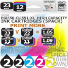 Compatible Canon 10 Pack PGi550-CLi551-XL High Capacity Ink Cartridges