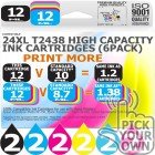 Compatible Epson 12 Pack 24XL T2438 High Capacity Ink Cartridges