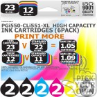 Compatible Canon 12 Pack PGi550-CLi551-XL High Capacity Ink Cartridges
