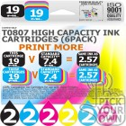 Compatible Epson 12 Pack T0807 High Capacity Ink Cartridges