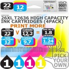 Compatible Epson 4 Pack 26XL T2636 High Capacity Ink Cartridges