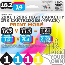 Compatible Epson (Latest Version) 4 Pack 29XL T2996 High Capacity Inks
