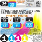 Compatible HP 4 Pack 364XL High Capacity Ink Cartridges