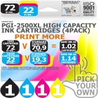 Compatible Canon 4 Pack PGi-2500XL High Capacity Ink Cartridges