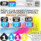 Compatible Canon 4 Pack PGi5-CLi8 High Capacity Ink Cartridges