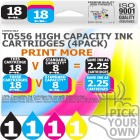 Compatible Epson 4 Pack T0556 High Capacity Ink Cartridges