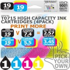 Compatible Epson 4 Pack T0715 High Capacity Ink Cartridges