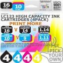 Compatible Brother 16 Pack LC123 High Capacity Ink Cartridges