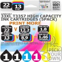 Compatible Epson (Latest Version) 5 Pack 33XL T3357 High Capacity Inks