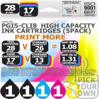 Compatible Canon 5 Pack PGi5-CLi8 High Capacity Ink Cartridges