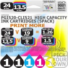 Compatible Canon 5 Pack PGi520-CLi521 High Capacity Ink Cartridges