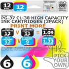 Remanufactured Canon 12 Pack PG-37~CL-38 High Capacity Ink Cartridges
