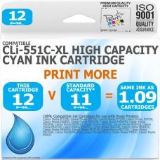 Compatible Canon CLi-551C-XL Cyan High Capacity Ink Cartridge
