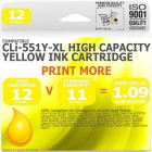 Compatible Canon CLi-551Y-XL Yellow High Capacity Ink Cartridge